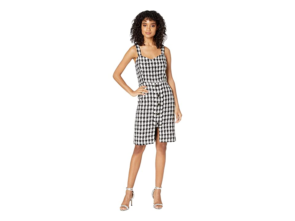 J.O.A. Tweed Sleeveless Button Front Dress (Black/White) Women