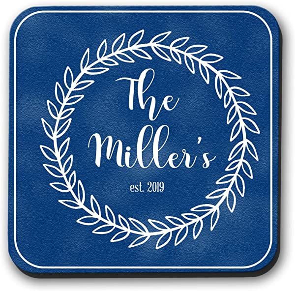 Navy Blue Personalized Coasters