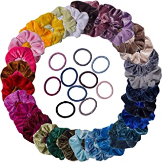 40 Pack Velvet Hair Scrunchies Hair Ties Bands Ropes Scrunchy for Women Girls Hair Accessories, Including 10pcs Assorted Colors Elastic Hair Ties