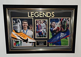 www.signedmemorabiliashop.co.uk Nouvelles bottes Cristiano Ronaldo et Lionel Messi signées