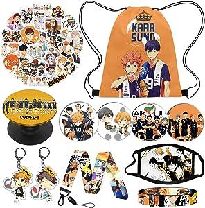 Anime Haikyuu Karasuno Nekoma Gift Set Included 1 Haikyuu Drawstring Bag Backpack, 50 Haikyuu Laptop Stickers,1 Bracelet,1 Face Mask,1 Phone Holder, 4 Button Pins, 2 Keychain,1 Lanyard