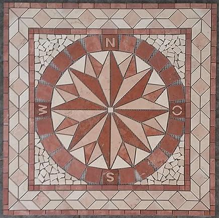 Rosace Marbre Mosaique en carrelage 33x33 cm x 8 mm rose des vents rosso verona