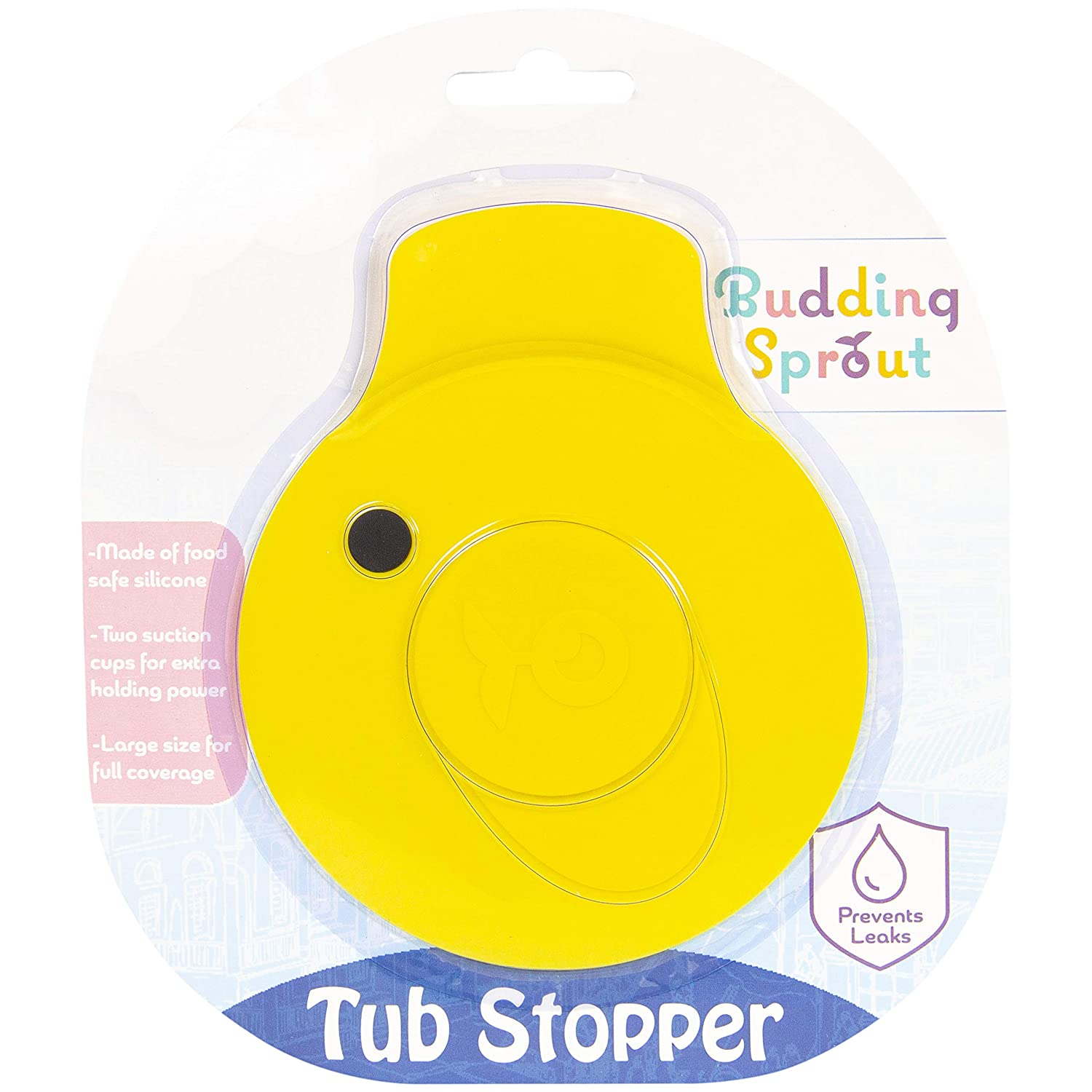 Budding Sprout Ducky Bath Tub Stopper Drain Cover. Universal Fit, Made of Food Safe Silicone. Cute Design for Toddlers and Children of All Ages