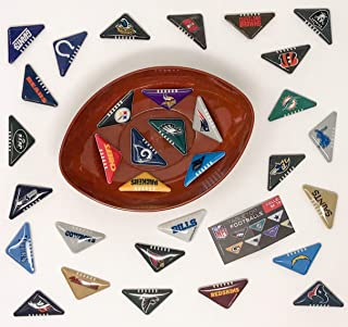 2020 NFL 32 Tabletops with Football Shaped Bowl. Game Party Pack Finger Flick Patriots Packers Cowboys Eagles Steelers Vikings Rams Texans Chiefs Bears Snack