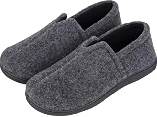 Men's Comfort Micro Wool Felt Memory Foam Loafer Slippers Anti-Skid House Shoes for Indoor Outdoor Use