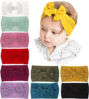 inSowni Super Stretchy Solid Nylon Bow Turban Headbands Hairbands Headwraps for Baby Girls Toddlers Infants Newborns