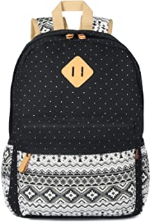 Plambag Women's Backpack Cute Bookbag, Laptop School Backpack Large Black Star