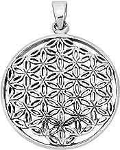 AeraVida 26 mm Timeless Jasmine Flower of Life .925 Sterling Silver Pendant