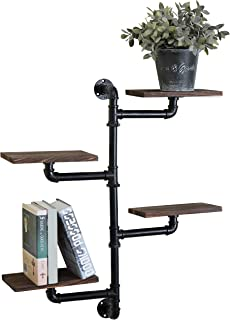 MyGift Wall Mounted Industrial Style Pipe & Rustic Dark Brown Wood 4-Tier Shelving Unit