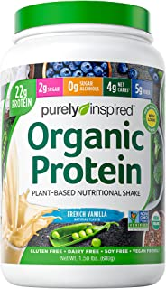 Purely Inspired Organic Protein Powder, 20g of Plant-Based Protein for Women and Men, Probiotic, Vegan Friendly Shake, No...