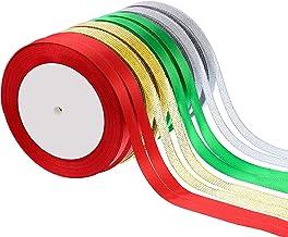 Sumind 8 Rolls 200 Yards Total 10 mm Satin Ribbon Roll Gift Wrapping Ribbon Shimmer Sheer Organza Ribbon Chiffon Gift Ribb...