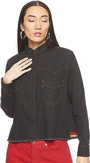 قميص دينيم ال اي بتصميم كلاسيكي باكمام طويلة ولون واحد للنساء من ليفايس