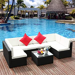 M&W 7 Pieces Patio Sofa Set, PE Wicker Rattan Outdoor Sectional Furniture, 6 Cushioned Chairs and 1 Glass Coffee Table for Lawn Garden Backyard Pool