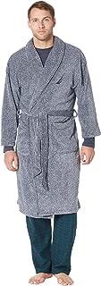 Men's Long Sleeve Cozy Soft Plush Shawl Collar Robe, Navy...
