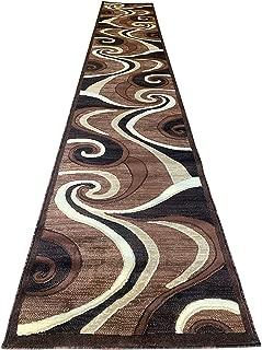 Americana Modern Long Contemporary Runner Area Rug Brown Design 144 (32 Inch X15 Feet 10 Inch)
