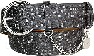 Michael Kors Black Belt with Round Silver Buckle MK Logo Chain MK Tag Size Medium