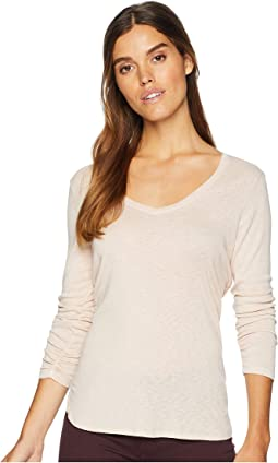 1X1 Slub 3/4 Sleeve V-Neck Top