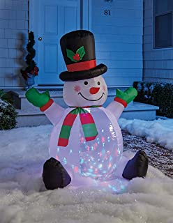 The Lakeside Collection Inflatable Snowman with Moving Lights - Holiday Yard Decoration - 4-ft.