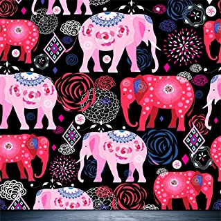 CSFOTO 4x4ft Background for Bright Pattern of Beautiful Elephants Photography Backdrop Ethnic Pink Floral Pattern Ornament Wildlife Silhouette Holiday Stylised Photo Studio Props Wallpaper