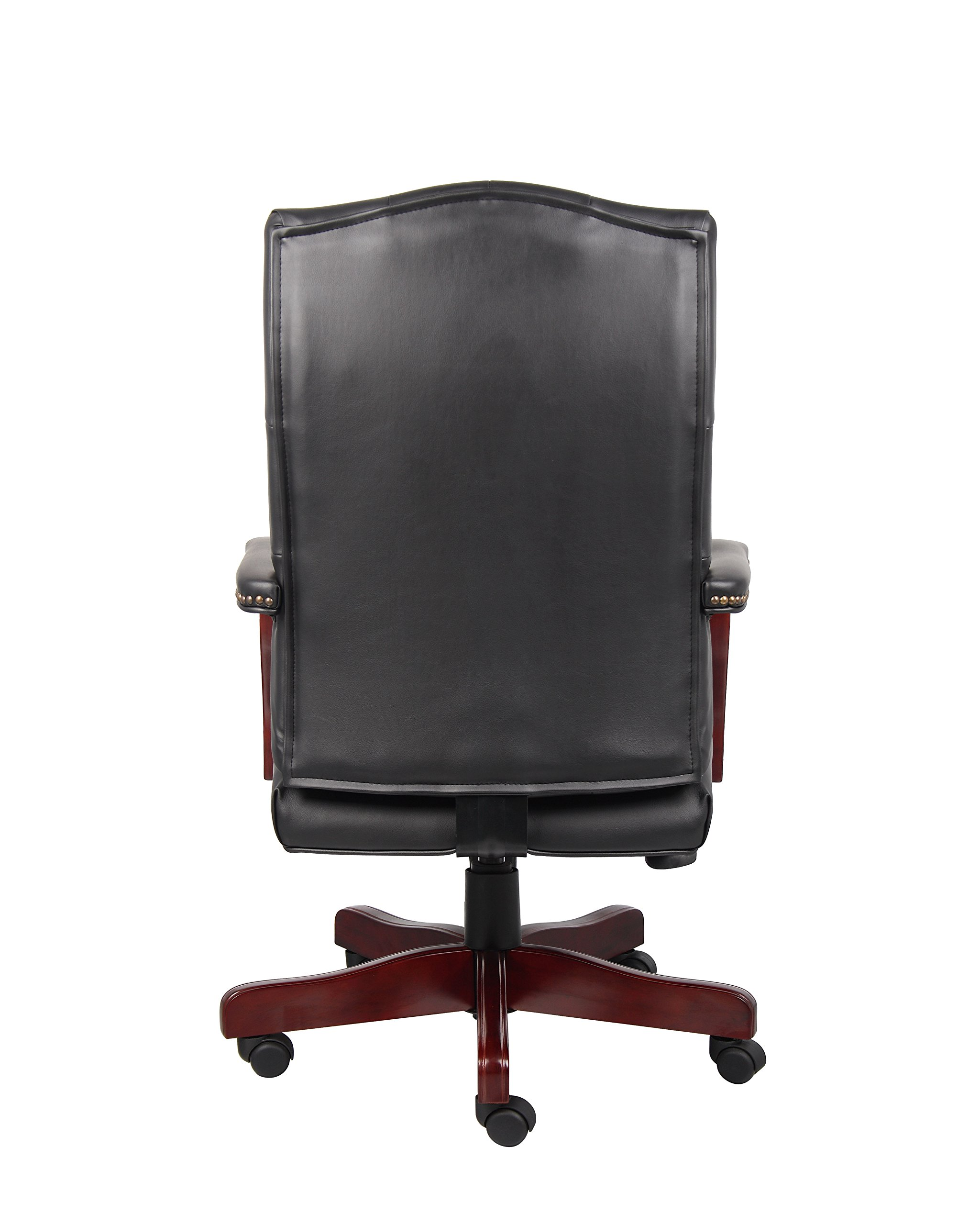 Boss Office Products Classic Executive Caressoft Chair with Mahogany Finish in Black