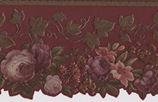 Pink Red Purple Blooming Roses Vintage Floral Wallpaper Border Retro Design, Roll 15' x 4''