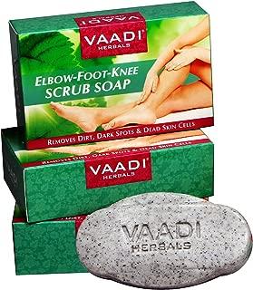 Vaadi Herbals Elbow Foot Knee Scrub Soap with Almond and Walnut Scrub, 75g x 3