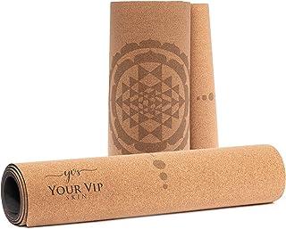 YOUR VIP SKIN Shri Yantra Yogamat van kurk, antislip, milieuvriendelijk, natuurlijk, duurzaam, met rubber (zonder TPE), yo...