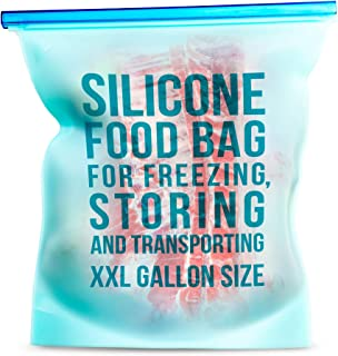 Silicone Food Storage Bag. Professional Reusable 1-Gallon Size XXL Leakproof Bag with Extra Clip. Best for Freezing, Storage, Cooking, Boiling