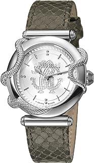 ROBERTO CAVALLI Women's RC-56 Stainless Steel Swiss Quartz Watch with Leather Calfskin Strap, Brown, 20 (Model: RV1L058L0016)