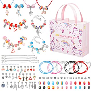 DIY Bracelet Making Kit, Allinko Pink Unicorn Jewelry Craft Making Set with Gift Box, Removable 90 Pcs Charm Beads Birthda...