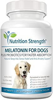 Nutrition Strength Melatonin for Dogs, Help Improve Sleep Quality, Anti-Anxiety Support, Stress & Separation Aid, Promote Relaxation, Help Dogs Feel Calm & Comfortable, 120 Chewable Tablets