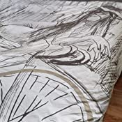 Lady Sit on Bicycle Pattern Bed Comforter Set Modern Sketch Illustration Bedspread Quilt Cover Decorations,White Gray Erosebridal Abstract Bicycle Bedding Set Twin Hand Painted Bike Duvet Cover Set
