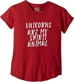 The Original Retro Brand Kids - Unicorns Are My Spirit Animal Rolled Short Sleeve Tee (Big Kids)