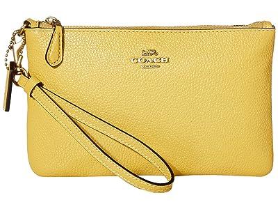 COACH Polished Pebble Small Wristlet (B4/Sunlight) Wristlet Handbags