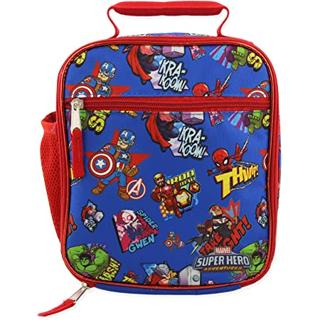 Marvel Super Hero Adventures Avengers Boys Soft Insulated School Lunch Box (One Size, Blue/Red)