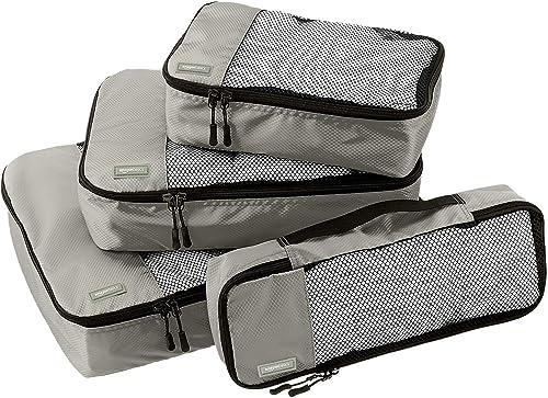 Amazon Basics Lot de 4 sacoches de rangement pour bagage Tailles S/M/L/Slim, Gris