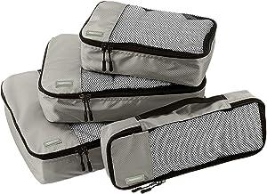 Amazon Basics 4 Piece Packing Travel Organizer Cubes Set, Grey
