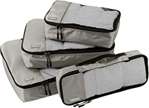 AmazonBasics Packing Cubes - Small, Medium, Large, and Slim (4-Piece Set), Gray