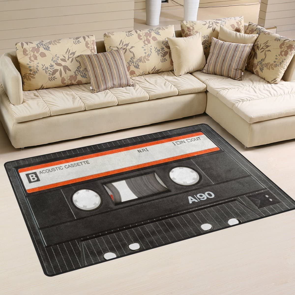 ALAZA Old Cassette Tape Area Rug Rugs Room Ranking TOP20 Carpet Fees free!! for Bed Living