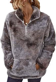 LIVACASA Felpe Donna Pullover Morbido Pile Tops Termico a Manica Lunga Maglione Donna Caldo con Tasca Ragazza Invernale