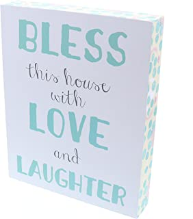 Barnyard Designs Bless This House with Love and Laughter Wooden Box Wall Art Sign, Primitive Country Farmhouse Home Decor Sign with Sayings 10