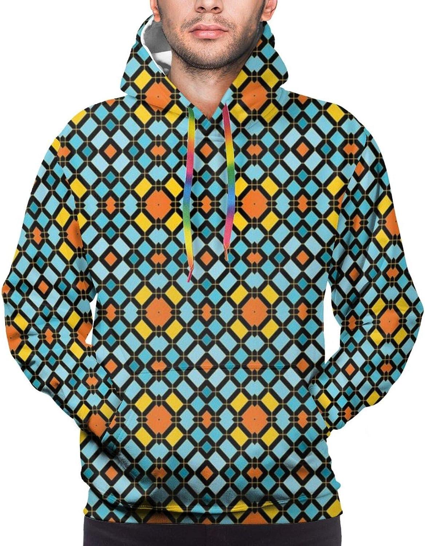 Men's Hoodies Sweatshirts,Abstract Aztec Zigzag Form Artistic Symmetric Digital Print,Large