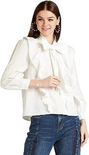 Iconic Women's 2091089 SS24RUFLDTLS Woven Body Blouse, Cream