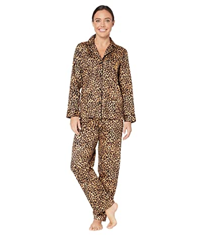 LAUREN Ralph Lauren Classic Sateen Long Sleeve Notch Collar Long Pants Pajama Set (Brown Print) Women