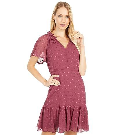 Rebecca Taylor Short Sleeve Dot Embroidery Dress (Jam) Women
