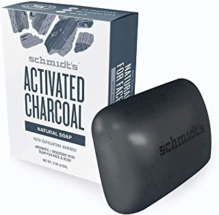 Schmidt's Activated Charcoal Natural Bar Soap with Exfoliating Bamboo 5 oz- Made in USA (Pack of 1)