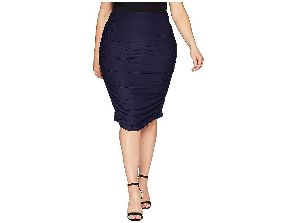 Kiyonna Helena Ruched Skirt (Navy) Women