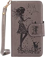 (Sleeping Bear) - Huawei Ascend Y3 II(Y3 2) Case, Embossed Girl Cat Butterfly PU Leather[Portable Wrist Strap] Credit Card Slots Wallet [Nine Card Slots] Cover(Built in Mirror)+Stylus-(Grey)