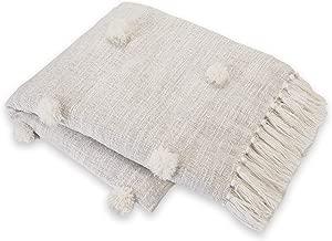 Mud Pie Pom White Throw Blanket