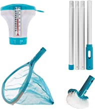 U.S. Pool Supply Professional Heavy Duty Spa, Hot Tub, Pond Cleaning & Maintenance Set - Skimmer Net with Deep Fine Mesh Netting, Spa Scrubbing Brush, 4 Foot Pole, Floating Chlorine Chemical Dispenser